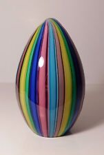 APPEALING EGG SHAPED MURANO Rainbow Colored STRIPED CANES Art Glass PAPERWEIGHT