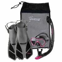 Used Seavenger Adults Kids Dry Top Snorkel Mask Fins Bag Travel Set