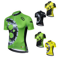 Men's Reflective Cycling Jersey Full Zip Short Sleeve Bike Clothing Biking Shirt
