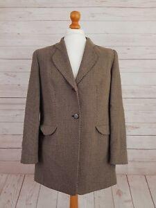Gerry Weber Women's Vintage Brown Buttoned Wool  Blazer Jacket Size 42 UK 16