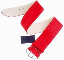 NEW PRADA LADIES HOT RED SUEDE LEATHER WIDE OVAL BUCKLE BELT 80/32