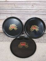 Set of 3 Vintage Couroc Round Black Tray with U.S. Mail Wagon Inlaid Phenolic