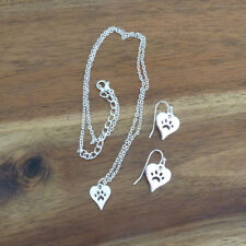 Silver Plated Heart with Paw Print Necklace & Earrings Set