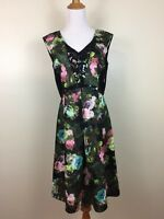 Lovely Adrianna Papell Womens Sz 8 Black Multi-color Floral Print Dress