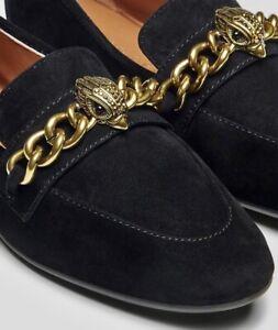 KURT GEIGER Black Suede Embellished Eagle Chelsea Loafers, UK Size 5. RRP: £139