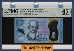 TT PK 281a 2018 COSTA RICA 2000 COLONES POLYMER NOTE PMG 67 EPQ SUPERB GEM UNC!