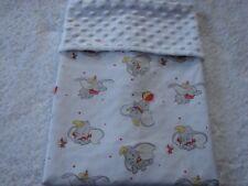 Dumbo Cotton Front White Minky Bassinet/Crib Blanket Handmade
