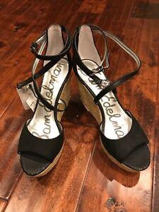 "Sam Edelman ""Turner"" Black Strappy Wedge Heels, Size 9.5, NWOB! $149"