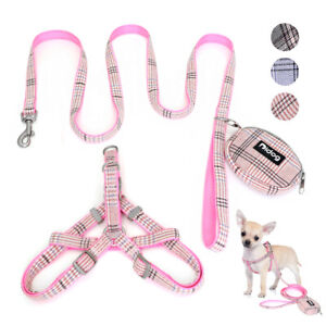 Nylon Step-in Dog Harness & Lead & Treat Bag set No Pull Girl Boy Walking Vest