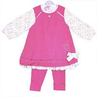 UK Cotton Kids Baby Girls Pink Corduroy Dress Top Leggings Clothes Set 6-24mths