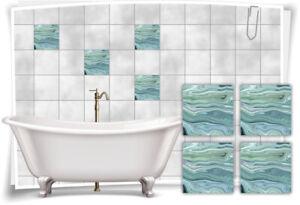 Fliesen-Aufkleber Folie Marmor Öl Ölfarben Abstrakt Grün Creme Bad WC Deko Küche