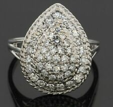 Heavy 14K WG exquisite 1.50CTW VS diamond cluster cocktail ring size 8.5
