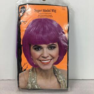 Super Model Wig One Size Adult Neon Purple Bob Halloween Elasticized Lining Snug