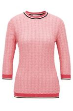 HUGO BOSS Farbara Knitted boucle Top jumper Pink Size Small RRP £189 BNWT