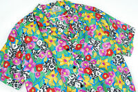 Vintage 90s Gianna Floral Bright Polyester Short Sleeve Blouse Shirt Womens KEII