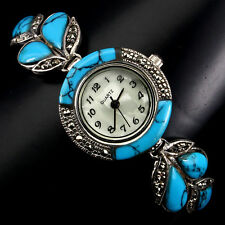 Sterling Silver 925 Genuine Cabochon Turquoise and Marcasite Watch 7 Inch #5