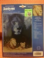 Janlynn LION Counted Cross Stitch Kit 14 ct Navy Blue Aida 9x12 NEW #013-0300