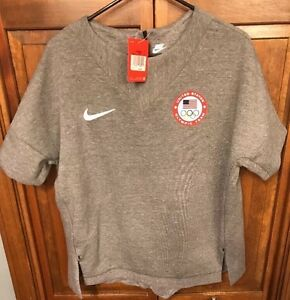 Nike USA Olympic Team Gray Grey SweatShirt Fleece Training Women's L $130 807000