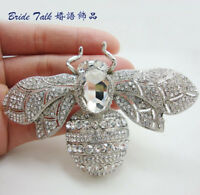 Vintage Retro Clear Rhinestone Crystal Insect  Bee Brooch Pin Woman 6608