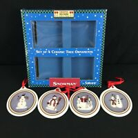 Set of 4 VTG Christmas Ornaments by Sakura Debbie Mumm Snowman 1998 Holiday