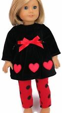 """Red & Black Heart Leggings Pant Set Valentine for 18"""" American Girl Doll Clothes"""