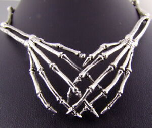SKELETON SKULL HANDS HALLOWEEN MENS WOMENS NECKLACE CHAIN 925 STERLING SILVER