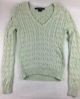Ralph Lauren Women's Green Long Sleeve V-Neck Cable Knit Sweater Size: Medium