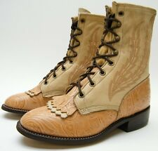 WOMENS LARRY MAHAN TOOLED EMBOSSED LEATHER LACER LACE UP COWBOY BOOTS 6.5~1/2 M