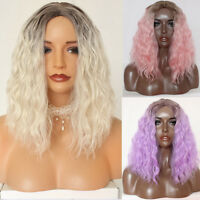 Short Ombre Bob Brazilian Lace Wigs Fiber Synthetic Lace Front Wig Loose Curly