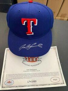 Ivan Rodriguez Signed Hat - Texas Rangers - HOF - Fleer COA