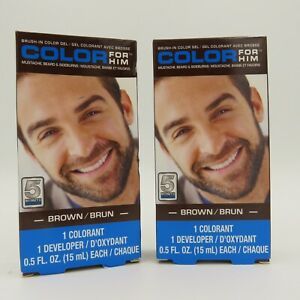 Color For Him Brush-In Color Gel Mustache Beard & Sideburns color Brown Lot of 2