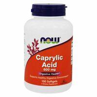Now Foods CAPRYLIC ACID Intestinal Digestive Health 600 mg, 100 Softgels