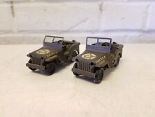 Vintage England Triang Minic Toys US Army Wind Up Toy WW2 Willy's Pair of Jeeps