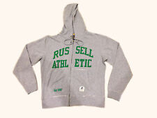 Mens Russell Athletic Sweat Jacket Top Hoodie Hoody Retro Grey Green Cotton Mix