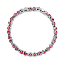 5mm Round Pink Sapphire Crystal Tennis Bracelet White Gold Plated Extended Clasp