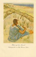 Blick auf den Strand Kunstdruck von 1926 Hermann Gehri Freiburg Mädchen beach -
