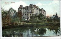 Gotha Thüringen Postkarte 1908 gelaufen Partie am Museum Teich Schwäne