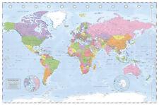 Political World Map Poster Miller Projection  Satin Matt Laminated New