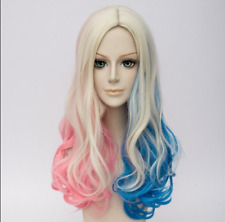 Suicide Squad Harley Quinn Wig Curly Blonde Pink Blue Mixed Hair Cosplay Wigs