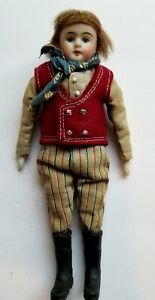 """ANTIQUE  BISQUE  6 1/2"""" TALL MAN DOLL IN RED VEST AND BLUE SCARF~REPLACED BOOT"""