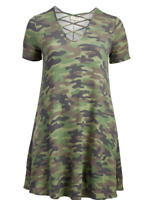 French Terry Camo A Line Short Sleeve Dress Sizes 1X 2X 3X