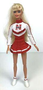 "University of Nebraska Cornhuskers Cheerleader Barbie Doll 12"" Tall Mattel EUC"
