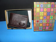 """Robe Di Firenze-VERA PELLE GENUIBE LEATHER -MADE IN ITALY WALLET  BROWN""""BOX"""