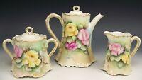 LIMOGES FRANCE HAND PAINTED ROSES TEA SET