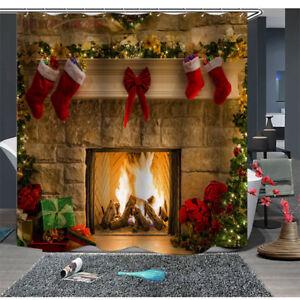 DIY Fireplace Christmas Stocking Bathroom Waterproof Shower Curtain+ Hooks Sale