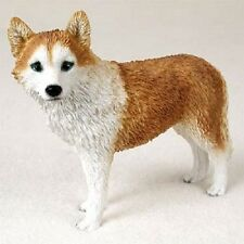 Red Siberian Husky Dog Figurine blue eye puppy Hand Painted Collectible Resin