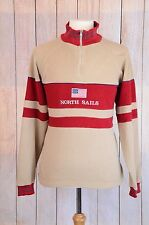 Vintage North Sails Sweater Pullover Big Logo USA Flag Red Brown Mens Size XL