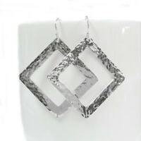 42mm Hammered 925 Sterling Silver Square Dangle Earrings Geometric Jewelry