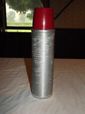 "Vintage Picnic American Thermos Bottle Company 14"" High Silver Polly Red Thermos"