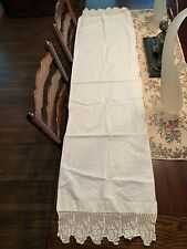 Vintage Table Runner Linen, Long Crochet Scalloped Ends 60� X 15�